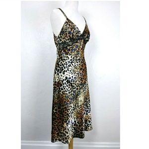 Vtg Oscar De La Renta Leopard Lace Slip Dress